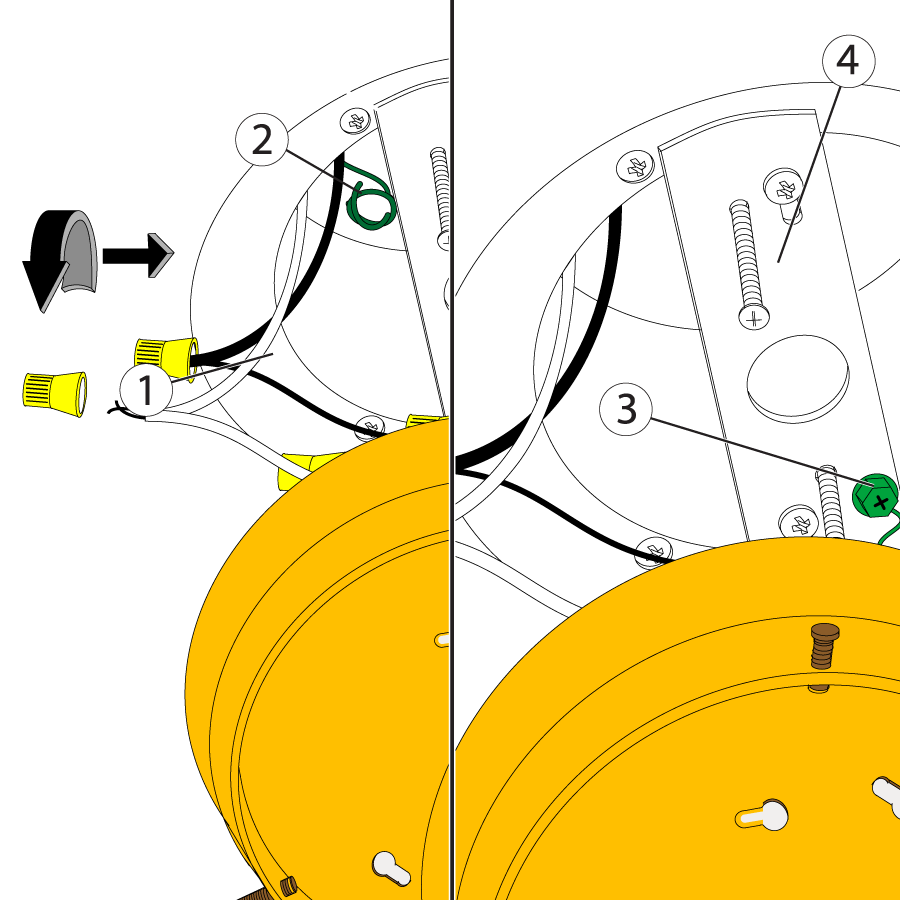 Tuck the ground wire inside the junction box if the fixture doesn't use it.