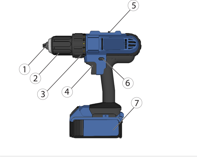 Schematic of a power drill.