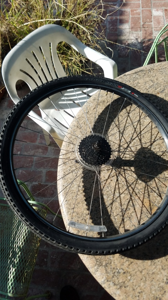 A bike tire on a table.