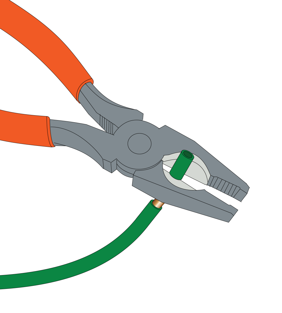 Use linesman pliers to strip a wire.