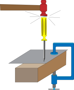 Clamp the sheet metal to a piece of wood, and use a screwdriver and hammer to make a dent where you plan to drill.