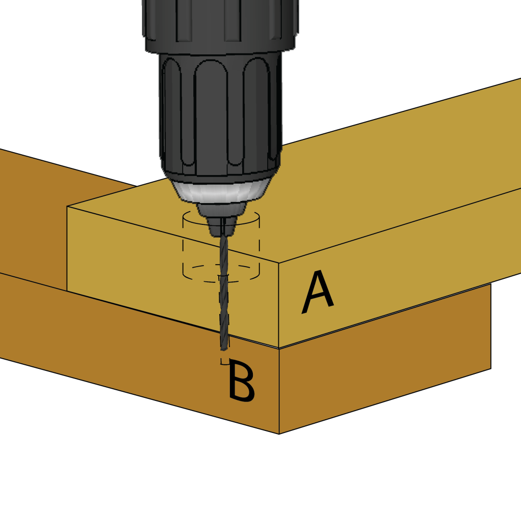 Use the smaller bit to drill through the countersink hole and into the second piece.