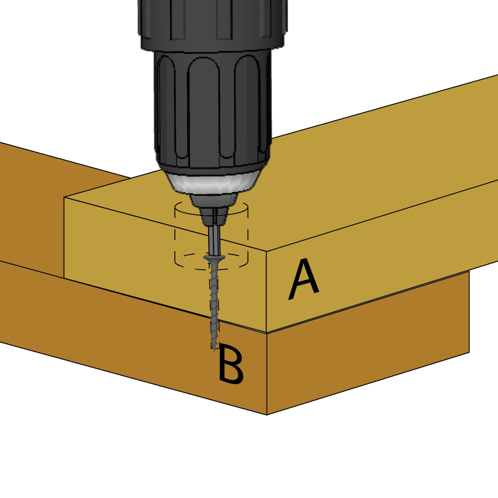 Drive the screw through the countersink hole and into the second piece.